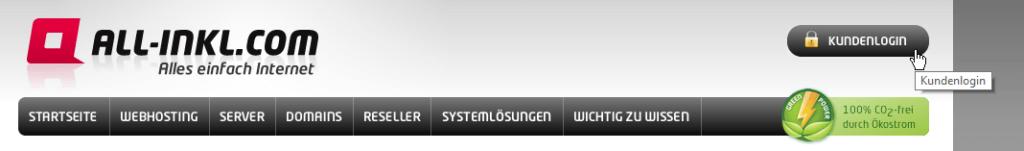 Das Bild zeigt den Cursor, der auf die Schaltfläche namens Kundenlogin klickt.