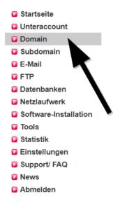 Das Bild zeigt einen Pfeil, der auf den dritten Link namens Domain deutet.