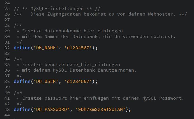 Das Bild zeigt einen Ausschnitt der Datei wp-config-sample.php. In Zeile 32, 38 und 43 werden die Änderungen vorgenommen.
