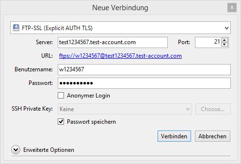 Auf dem Bild wird ein Fenster namens Neue Verbindung angezeigt. Zunächst kann in einem DropDown-Menü die Server-Verbindung ausgewählt werden. Danach kann die URL des Servers, der Benutzername und das Passwort eingegeben werden. Im unteren Abschnitt des Bildes wird die Schaltfläche Verbinden angezeigt.